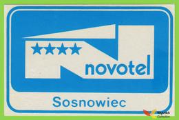 Voyo HOTEL NOVOTEL Sosnowiec Poland Hotel Label  Sticker 1980s Vintage - Etiquettes D'hotels