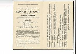 Dp 9812 - GEOGES MISPREUVE - LECLERCQ - SYNGEM 1888 + RENAIX 1949 - ANCIEN COMBATTANT 1914-1918 - CROIX DE YSER ETC. - Images Religieuses