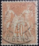 France N°94f Sage 40c. Orange Pâle. Oblitéré CàD Paris (Rue Benjamin Constant) - 1876-1898 Sage (Type II)