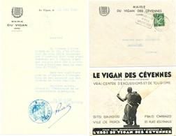 GARD ENVELOPPE ENTETE MAIRIE DU VIGAN DES CEVENNES 1940 LE VIGAN DES CEVENNES SITES SPLENDIDES DAGUIN - Marcophilie (Lettres)
