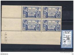 FRANCE BLOC DE 4 COIN DATE - N°357 - 1930-1939