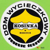 Voyo Dom Wycieczkowy KOSINKA Kosin Poland. Hotel Label  Sticker 1990s Vintage Resovia - Etiquettes D'hotels
