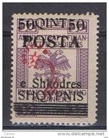 ALBANIA:  1919  SOPRASTAMPATO  -  50 Q./32 H. VIOLETTO  L. -  YV/TELL. 71 - Albania