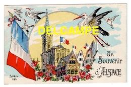 DD / REGION ALSACE / UN SOUVENIR D' ALSACE, CIGOGNES ,DRAPEAUX FRANÇAIS, MAISONS À COLOMBAGES & CATHÉDRALE DE STRASBOURG - Alsace