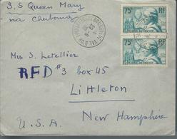 Lettre De France Pour Les U. S. A. Affranchie Avec  Paire N° De 313   Le 28/6/36 - Marcophilie (Lettres)