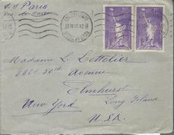 Lettre De France Pour Les U. S. A. Affranchie Avec  Paire N° De 309   Le 22/4/37 - Marcophilie (Lettres)