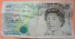 BILLET ENGLAND FIVE POUNDS 1990 - SCANS RECTO VERSO - 1952-… : Elizabeth II
