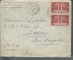 Lettre De France Pour Les U. S. A. Affranchie Avec  Paire N° De 316   Le 10/8/36 - Marcophilie (Lettres)
