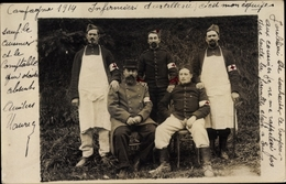 Photo Cp Infirmiers D'artillerie, Campagne 1914, Französische Militärärzte, Sanitäter - Berufe