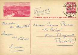Entier Postal HELVETIA 20 VEVEY  + Beau Cachet SIERRE  RV - Postwaardestukken