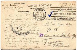 CV Expédiée De Paris Vers Un Militaire Belge Interné Au Camp D'HARDERWIJK (Pays-Bas) - WW I