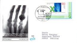 """BRD Schmuck-FDC """"150. Geburtstag Von Wilhelm Conrad Röntgen"""" Mi.1784 ESSt 9.3.1995 BONN 1 - FDC: Covers"""