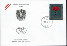 Österreich Austria 1988 - Österreichische Sozialdemokratie - Rote Nelke - MiNr 1940 FDC - Pflanzen Und Botanik
