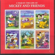 NfgA208b WALT DISNEY DONALD WITH MELON BEACH HOND KAT PLUTO DOG CAT TURKEY BIRD KATZE HUNDE CHIEN CHAT GHANA 1998 PF/MNH - Disney