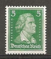 DR - Yv. N°  380 Mi:  387  **MNH  5p  Schiller  Vert  Cote  10 Euro TBE  2 Scans - Deutschland