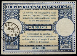 ALGERIE ALGERIA Lo14ms. 30 / 15 FRANCS Int. Reply Coupon Reponse Antwortschein IAS IRC O ALGER R.P. 06.02.50 - Covers & Documents