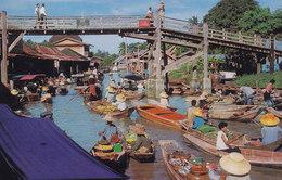 Thailand PPC Floating Market (Wat-Sai) Near Bangkok Phorn Thip No. 564 (Unused) (2 Scans) - Thaïland