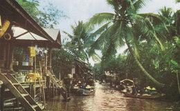 Thailand PPC No. 368 Dhornburi Bangkok Scenery Of The Floating Market (Unused) (2 Scans) - Thaïland