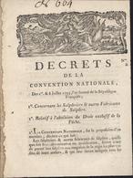 Décret Convention Nationale 1793 Sur Les Salpêtres Et Abolition Droit Exclusif De La Pêche Permis De Pêche - Decretos & Leyes