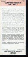 Fiche Illustrée NESTLE Les Merveilles Du Monde N° 101 COMMENT CHOIIR UN CHAT - Nestlé