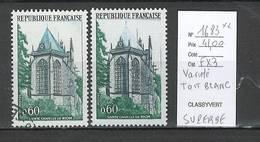 France - Yvert 1683 Sainte Chapelle Riom**  - TOIT BLANC  - Superbe Variété - Abarten Und Kuriositäten