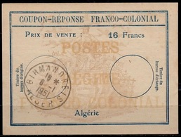 ALGERIE Fc6 Coupon-Reponse Franco-Colonial Antwortschein Reply16 Francs o BIRMANDREIS 6.1.51 Bienen / Bees / Abeilles - Covers & Documents