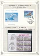 CONCORDE - ENVELOPPE PREMIER JOUR HAUTE VOLTA 4 FEVRIER 1974 + BLOC DE 6 TIMBRES FRANCE 1ER VOL CONCORDE WASHINGTON - Concorde