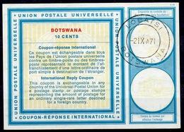 BOTSWANA Vi19 10 CENTS InternationalReply Coupon Reponse Antwortschein IAS IRC O LOBATSI 21.10.71 - Botswana (1966-...)