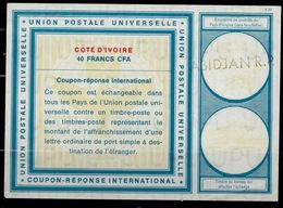 COTE D' IVOIRE / IVORY COAST Vi19 40 FRANCS CFA International Reply Coupon Reponse AntwortscheinIAS IRC O ABIDJAN R.P. - Côte D'Ivoire (1960-...)