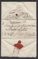 """FRANCE LETTRE DATE DE SAINT SAULURE 31/10/1824 """"57 VALENCIENNES"""" VERS BRAINE L ALLEUD """"DEBOURSE (BE) DC-5438 - Postmark Collection (Covers)"""