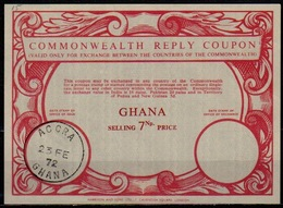 GHANA Scarce Issued Co15 7 Np. Commonwealth Reply Coupon Reponse Antwortschein IRC o ACCRAGHANA 23.2.72 - Ghana (1957-...)