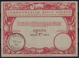 GHANA Co15ms. 10 /7 Np. Commonwealth Reply Coupon Reponse Antwortschein IRC o ACCRAGHANA 29.05.72 - Ghana (1957-...)