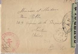 """1945 DOMFRONT 2° BATAILLON MARCHE NORMANDIE - Lettre Avec Censure """"Ouvert Par Les Autorités De Contrôle AN"""" - Marcophilie (Lettres)"""