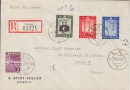 Lettre FDC Recommandée (Hamar 04624) Obl Hamar Le 10/12/54 Sur N°352, 353, 354 (1° Ligne Télégraphique Norvégienne) - Briefe U. Dokumente