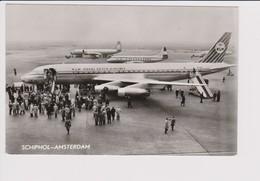 Vintage Rppc KLM K.L.M Royal Dutch Airlines Electra L-188 & Viscount Douglas Dc-8 @ Schiphol Airport No 2 - 1919-1938: Between Wars