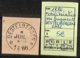 D - [823240]TB//O/Used-Belgique 1886 - Destelbergen Sur Fragment, RARE - Marcofilia