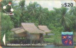 Solomon Island - SOL-18, GPT, 04SDA, Houses On Stilts, Native Huts, 20 SI$, 1997, Used Heavily - Islas Salomon