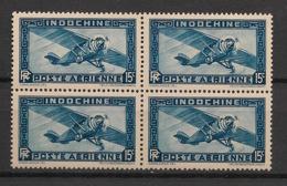 Indochine - 1933-38 - Poste Aérienne PA N°Yv. 5 - Avion 15c Bleu - Bloc De 4 - Neuf Luxe ** / MNH / Postfrisch - Posta Aerea