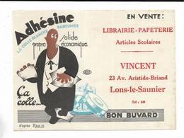 """Buvard """" Adhésine, La Colle Blanche Parfumée """" Librairie VINCENT à Lons-le-Saunier - Carte Assorbenti"""
