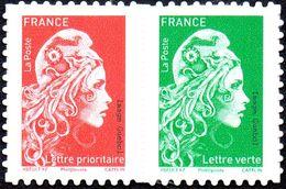 France Autoadhésif N° 1653_P **  Marianne L'Engagée, Paire Mixte Du Carnet Les Vert Et Rouge + Lent Et Prioritaire - France