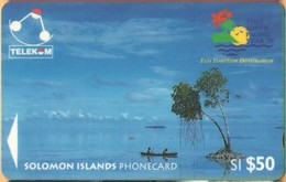 Solomon Island - SOL-12, GPT, 03SIE, Canoe-Paddling, Sikaiana (Logo '95), 50 SI$, 1995, Used - Salomon
