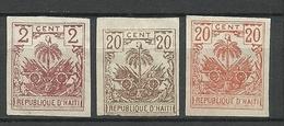 HAITI 1893/96 Michel 33 U & 35 U & 39 U (*) Imperforated Stamps NB! One With Thin Place! - Haiti