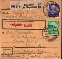! 1934  Paketkarte Deutsches Reich, Förderstedt Nach Halle, Artillerie Kaserne - Germania