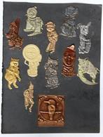 12 Ancienne Plaque Emboutie Décoration Métal Entreprise Metcraft Animaux Personnalisés Golf Cricket Walsall Lithographic - Autres