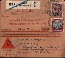 ! 1934 Nachnahme Paketkarte Deutsches Reich, Essen Altenessen Nach Hohenmölsen - Briefe U. Dokumente