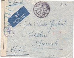 Levant : Lettre En FM, Par Avion Avec Censure De 1945 Pour L'Algérie - CaD Du BCM 1 Des FFL (France Libre) - Levant (1885-1946)