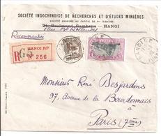 Lettre De Hanoi Pour Paris 1932 Sté Indochinoise De Recherches Et études Minières - Indochine (1889-1945)