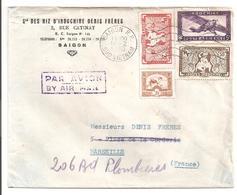 Lettre De Saigon Pour Marseille 1950  Sté Des Riz D' Indochine Denis Frères - Indochine (1889-1945)