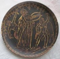 Assiette Murale Grecque Terre Cuite Décors Antique Dyonisos Main à Corfou - Ceramics & Pottery