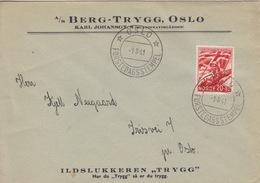 Lettre à Entête (Berg-Trygg) Obl. 1° Jour Oslo Forstedagsstempel Le 1/8/41 Sur N°212 (Au Profit De La Légion) - Norway